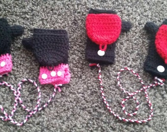 Minnie mouse mittens/Mickey Mouse mittens/Mickey mittens/Minnie Mittens/Crochet Minnie Mittens/Crochet Mickey Mittens