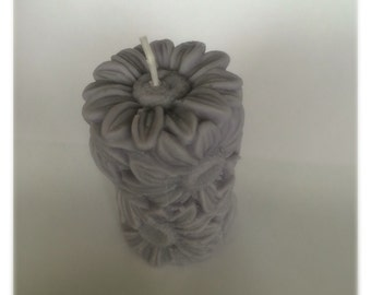 Flower Candle, Natural Soy Wax Daisy Pillar Votive