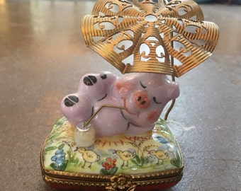 Adorable Limoges Box with Lounging Pig