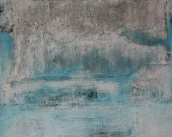 """Abstract Fine Art Large Painting, """"Glacier Melt"""" made with Mixed Media and Encaustic. Great calming blue color."""