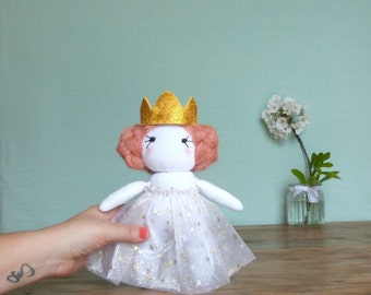 Doll, Princess, dress with sequins, Crown, doll socks, medium age, toy, recycling