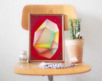 Original Oil Pastels Illustration - Crystal, Paint, Wall Art, Wall Decor - RED CRYSTAL