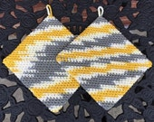 Crocheted Hot Pads, Variegated Pot Holders, Crochet Pot Holders,Cream,Yellow,Gray, Housewarming Gift,Kitchen Gift,Trivets/FREE SHIPPING