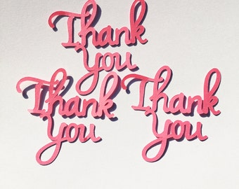 Thank you embellishments, set of ten, cardmaking, scrapbooking and other uses