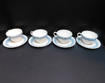 4 Wedgwood Lavender On Cream Cup And Saucer Sets