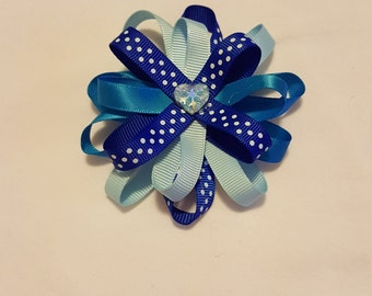 Blue loopy Bow