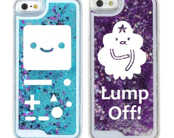 Adventure Time Liquid Glitter Waterfall iPhone or Samsung Case - Princess Bubblegum, BMO, Lumpy, Jake