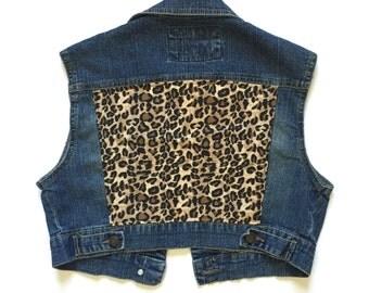 Women's Leopard Cropped Denim Vest - vintage - leopard print fabric - women's denim vest - jean vest - Size M