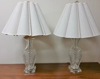Vintage Hollywood Regency Table Lamps Waterford Crystal Mid Century Modern w/ Shades