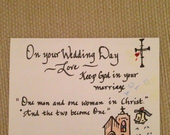 Wedding Greeting Card in Calligraphy