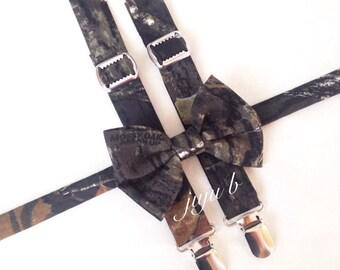 Mossy Oak Bow Tie and Suspender Set | Mossy Oak Bow Tie | Camo Suspenders | Mossy Oak Suspenders | Camo Bow Tie | Mossy Oak Break Up Fabric