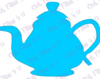 Teapot Silhouette design: PNG, SVG, and Studio 3 cut files included for vinyl, paper, fabric, etc. using Cameo, Cricut, and craft cutters