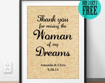 Burlap Print, Thank You for Raising the Woman of My Dreams, Wedding Anniversary Gifts for Wife, Thank You Gifts for Women, Home Decor, CM79