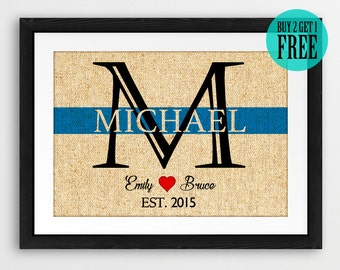 Thin Blue Line Family Name Prints, Personalized Monogram Burlap Prints, Police Officer Prints, Rustic Home Decor, Housewarming Gifts, CM93