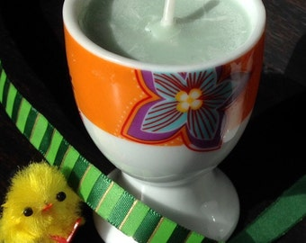 Egg Cup Candle with Flower Designs: Eucalyptus-scented, Kitchen Candle, Cute Container Candle