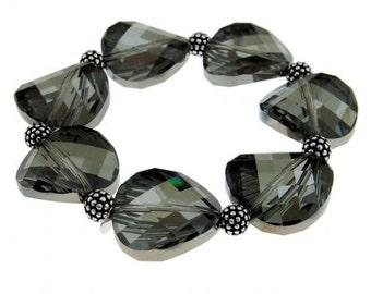 22mm Swarovski Crystal Bead Bracelet in Sterling Silver