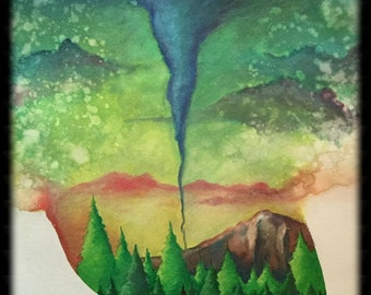 ORIGINAL 15x19 painting of a mountain landscape - The Signal (hidden face) - KacieArtGallery