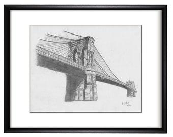 Brooklyn Bridge Graphite Hand Drawing