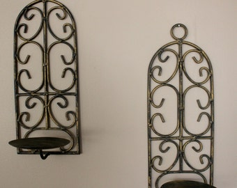 Pair of Vintage Iron Wall Sconces / Candle Holder / Candle Wall Sconces