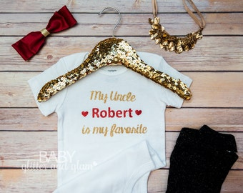 My Uncle Loves Me Shirt, My Uncle is my Favorite, Uncle Baby Gift, Baby Girl Bodysuit, Personalized Baby, Sparkly Girl, Gold Glitter