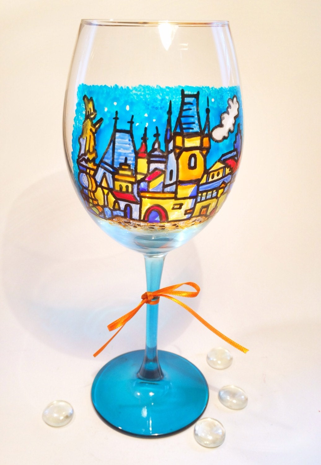 Hand painted prague wine glass made in germany weinglas for Hand designed wine glasses