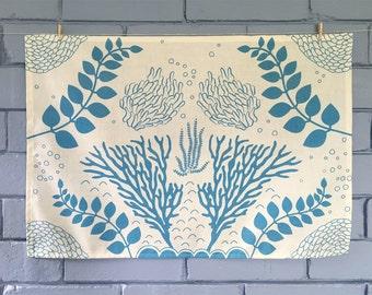 Ocean forest tea towel. Linen/cotton.