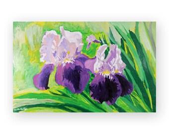 Large Painting Print Wall Art of Large Acrylic Paintings of Flowers on Canvas - Purple, Green Iris Flower Art Print, Dining Room Decor