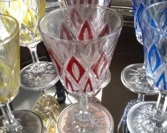 Set of Six Vintage Glass Stemware for Serving Aperitif or Cognac