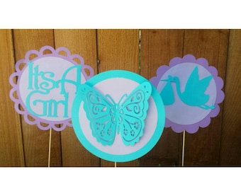 3 IT'S A GIRL Table Centerpeices--Baby Shower--Butterfly Theme-Birthday--Any Color--Any Size