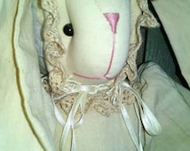 Tea stained stuffed bunny doll - lace