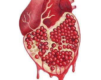Pomegranate Heart- print