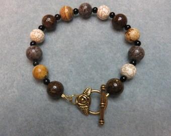 Gemstone Bracelet in Browns / Picture Jasper / Bronzite /Labradorite / Cream Howlite