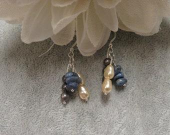 Pearl, Czech,Baby Blue Nugget Earrings w/ Sterling Silver Ear Wires