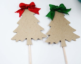 Christmas Cupcake toppers, Christmas trees cupcakes, Holiday party, Christmas party, Rustic Christmas