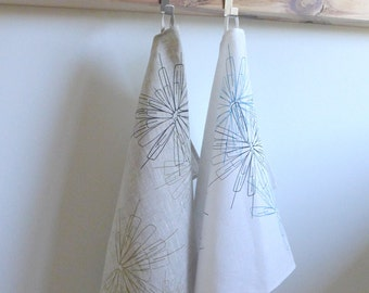 Tea Towel, linen 100%, hand printed, seelkscreen, txs and shipping included