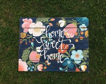 large handpainted floral sign