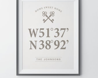 Latitude Longitude Print First Home Gift Housewarming Gift Personalized Wedding Gift Bridal Shower Gift Gift For Couple Custom Wall Decor