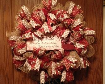 Happiness Wreath, Burlap Wreath, Summer Wreath, Fall Wreath, Rustic Wreath, Elegant Wreath