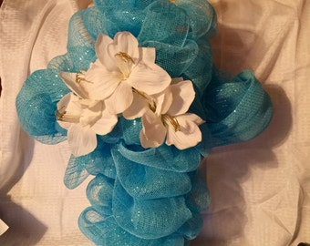 Blue Deco Mesh Cross Wreath