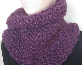 Purple Sparkle Knit Cowl/Purple Knit Cowl/Purple Knit Scarf/Purple Knit Neck Warmer/Purple Cowl/Purple Scarf/Purple Neck Warmer/Warm Cowl