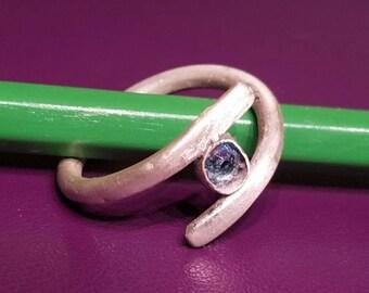 Brushed sterling silver ring with Swarovski Crystal
