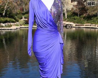 Blue Form Fitting Sparkle Pink Purple Sleeve Dress