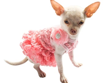 Coral Garden Party Dog Tutu Dress