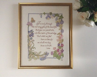 """Cross Stitch Calligraphy Gold Framed 13,5"""" x 16,5""""  (34,5 cm x 42 cm)  on Friedrich Schiller's Quote """" It is Only Through the Morning..."""""""