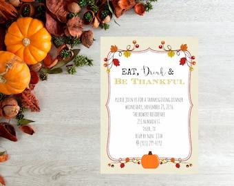 Custom Thanksgiving Dinner Invite 5x7 digital file for self printing (no hard copies shipped)