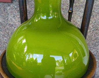 Large green Glass lamp shade white frosted interior hurricane light avocado