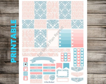 PRINTABLE for Happy Planner - Blue and Pink Damask Weekly Planner Sticker Kit for MAMBI Creative 365 Planner Checklist Full Box Headers