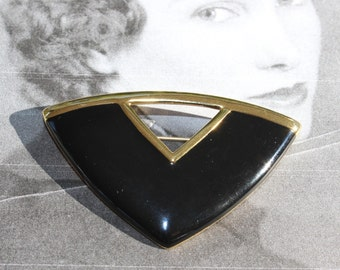 Vintage Monet Black and Gold Brooch, Geometric, Triangle, V Shaped, circa 1980s through 1990s.