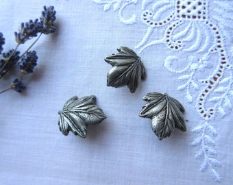 Leaves  Buttons  Craft Supplies   Metal  Buttons  Vintage Craft  Supplies - set of 3.