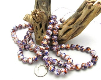 1 Strand Spray Painted Mottled Glass Beads 8mm Purple/White/Orange (B24a)